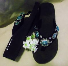 Beautiful custom designed concho bling western  cowgirl flip flops. Sizes 5/6,  9/10  www.pamperedcowgirl.com