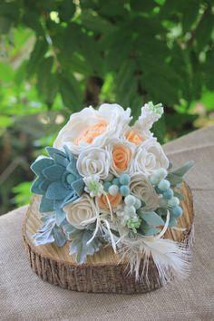 Felt flower wedding bridal bouquet от ElleandLu на Etsy