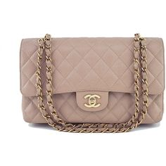 Pre-Owned Chanel Taupe Beige Caviar Medium Classic 2.55 Double Flap... ($3,699) ❤ liked on Polyvore featuring bags, handbags, taupe beige, chanel handbags, chain strap purse, brown handbags, genuine leather handbags and chanel purse