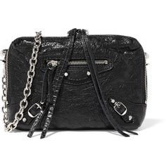 Balenciaga Classic Reporter XS glossed textured-leather shoulder bag (32,970 THB) ❤ liked on Polyvore featuring bags, handbags, shoulder bags, black, shoulder handbags, studded handbags, balenciaga shoulder bag, studded fringe purse and zip purse
