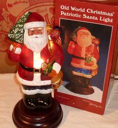 1996 Old World Christmas Patriotic Santa Light