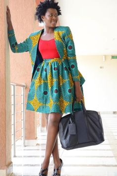 African print work wear with africa print blazer and matching african print skirt. African print work wear with africa print blazer and matching african print skirt. African Fashion Designers, African Inspired Fashion, Latest African Fashion Dresses, African Print Fashion, African Print Pants, African Print Dresses, African Dress, African Attire, African Wear