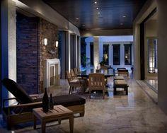 Comfortable lanai located off the Great Room via pocketing glass doors by WinDoor.  www.PhilKeanDesigns.com #PhilKean