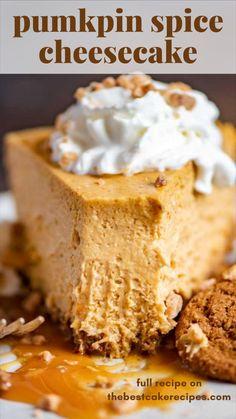 Pumpkin Cheesecake Recipes, Homemade Cheesecake, Pumpkin Recipes, Banana Cheesecake, Cheesecake Bites, Pumpkin Pie Cheesecake, Spice Cake Recipes, No Bake Pumpkin Pie, Cheesecake Squares
