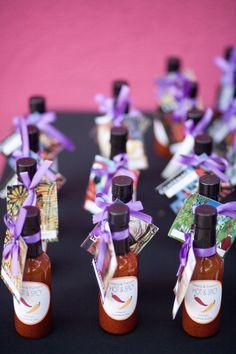 Hot sauce bottles as wedding favors- Latin theme wedding