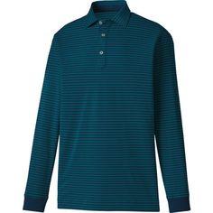 FootJoy Men's Long Sleeve Thermolite Jersey Stripe Golf Polo, Size: Medium, Blue