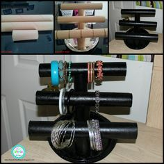 DIY Paper Towel Roll Jewelry Holder or instead of paper towel rolls use pvc tubes for something stronger