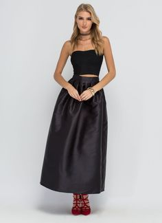 Flare And Square Pleated Maxi Skirt BLACK RED - GoJane.com
