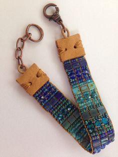 Hand loomed beaded bracelet.  Blue teal by FlyByNightBracelets