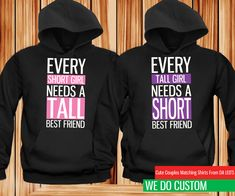 Details about Cute Best Friend Hoodies Short and Tall Matching Black Hoodies - Bestfriend Shirts - Ideas of Bestfriend Shirts - Cute Best Friend Hoodies Short and Tall Matching Black Hoodies Cute Sweatshirts For Girls, Best Friend Sweatshirts, Best Friend T Shirts, Friends Sweatshirt, Best Friend Outfits, Best Friend Clothes, Friends Shirts, Hooded Sweatshirts, Bff Shirts