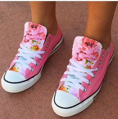 Floral Converse Chuck Taylors Pink Roses All by LoveChuckTaylors
