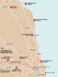 A map showing the English Heritage properties in Northumberland.