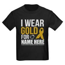 personalized support childhood cancer awareness T-shirt  gold disease ribbon symbol