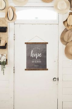 """""""May The God Of Hope"""" Canvas Banner - Aimee Weaver Designs Barn Wood Signs, Reclaimed Barn Wood, Wooden Signs, Coastal Decor, Rustic Decor, Wood Artwork, Making Signs On Wood, Bedroom Signs, Canvas Signs"""