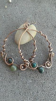 copper earringsHandmade copper earrings with green by Tangledworld