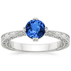Sapphire True Heart Ring in 18K White Gold, 5.5mm Round Blue Sapphire    Do want.