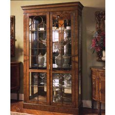 Walnut Curio Display Cabinet