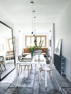 workspace with stone floors and vintage furniture in Yeabridge House, Somerset. Photo: Benjamin Edwards / owner Mark Homewood.