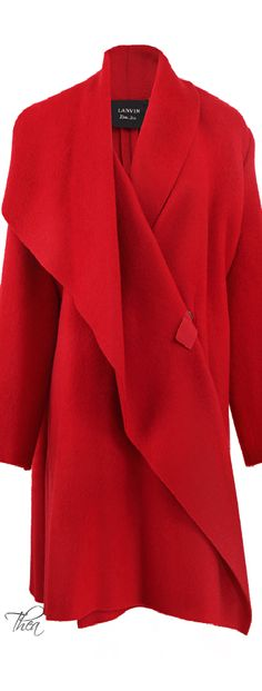 Oversized Red Blanket Coat From Lanvin