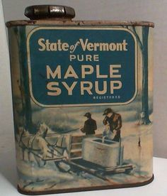 Vintage State Of Vermont Pure Maple Syrup, 2/3/4 Lbs Tin - Williams-Farmstead #VermontMapleSyrup