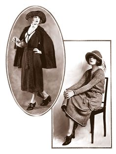 Awesome daily wear from 1928, dress, cape, and skirt