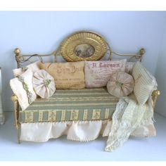 Fabulous French Style Day Bed Couch Sofa by Bobbie Johnson - Dollhouse Miniature
