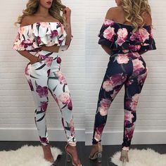 Stylish Fold-Over Ruffled Floral Cropped Pantsuit
