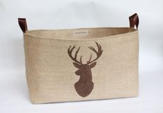 Hessian Burlap Stag Toilet Roll Storage Basket by RaggedHome