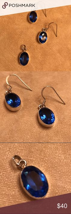 NEW Beautiful Sapphire SS 925 Earrings & Pendant Beautiful Sapphire SS 925 Earrings & Pendant Jewelry Earrings