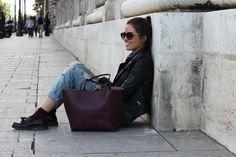 @martabespi con bolso shopper dayaday burgundy ¡No os perdáis el post!