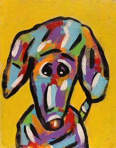 Worried Dog Original Painting ©W.Rosson #decor #dogs #fun #pets