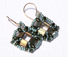 Green Sculpted Diamond Beaded Earrings, 14k Gold Filled, Beaded Earrings, Green Tea, Tila Earrings, Diamond Shaped, Swarovski Crystal by seedbeadsofchange on Etsy