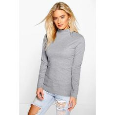 Boohoo Lacey Turtle Neck Rib Knit Jumper ($16) ❤ liked on Polyvore featuring tops, sweaters, silver, chunky sweater, turtle neck sweater, chunky turtleneck sweater, chunky turtleneck and wrap sweater
