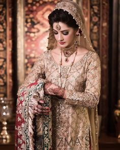 Look at the shying yet too Gorgeous bride 😍😍 Pakistani Bridal Makeup, Indian Bridal Lehenga, Indian Bridal Wear, Asian Wedding Dress, Pakistani Wedding Dresses, Dress Makeover, Bridle Dress, Beautiful Bridal Dresses, Bridal Makeover