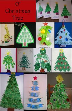WooHoo! Today is Day 6 of our 12 Days of Christmas Pinspiration series featuring ideas found on Pinterest meant to inspire your own creations. I never knew a Christmas Tree could be made so many ways with little handprints, footprints, & fingerprints! I am loving the 3D one in photo #4 ….. so cute & original! Thumbprint …