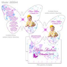 Invitatii Forma Fluture Map, Flowers, Location Map, Maps