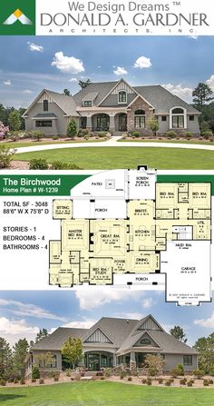 This Arts and Crafts styled sprawling ranch house plan has so much to offer the modern homeowner. A three car garage with extra storage adds space for a third automobile, workshop, or golf cart…More House Plans One Story, Family House Plans, Ranch House Plans, Craftsman House Plans, New House Plans, Dream House Plans, House Floor Plans, Craftsman Ranch, Ranch Floor Plans