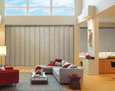 Creating a cohesive contemporary design statement, Hunter Douglas Roller Shades and Skyline® Gliding Window Panels Collection wins Best New Style Enhancement in the 2014 WCMA (Window Covering Manufacturers Association) in the Verticals and Panel Tracks Category #WindowTreatments #OpenLivingSpace