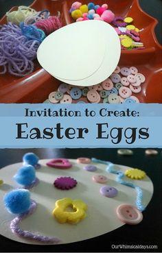 Open-ended Easter egg craft for kids. Great for fine motor skills!