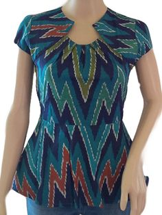 Peplum Top Front Neck Accent Batik Small Aqua
