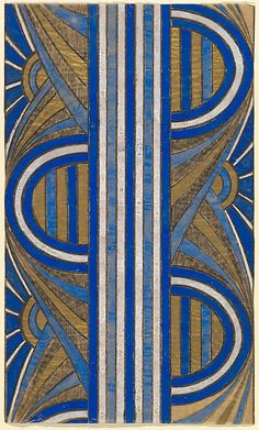 Panel with a Pattern of Sunrises and a Central Blue and White Striped Band, anonymous, French, 20th century, Art Decó