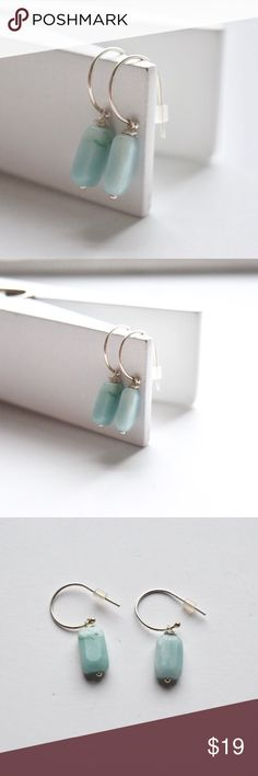 """Hand Made Aquamarine Natural Stone Earrings Brand new with tag. Natural Stone wired wrapped with sterling silver wire, hangs from small sterling silver semi hoop. Approximately 1/2"""" in length. If you have questions comment below. Onlo Jewelry Jewelry Earrings"""