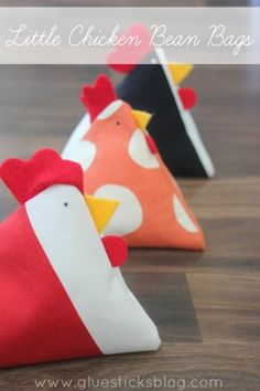 Cluck, cluck, cluck!  These cute little spring chickens from Brandy at Gluesticks can be sewn in a matter of minutes with scraps from your fabric stash and a