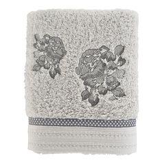 Serviette de toilette ROMANE GRIS - CARRE BLANC