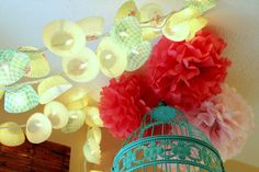 cupcake papers + lights = cute kitchen garland