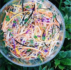 Colourful & delicious #dairyfree coleslaw salad! Bowl full of julienned carrots, red cabbage, eggplant, yellow zucchini, steamed broccoli, and cilantro on a bed of baby spinach and romaine lettuce. Dressing: tahini, garlic, water, lemon juice, salt and ginger.