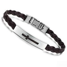 316l Stainless St Cross Id Nameplate Brown Pu Leather Bracelets #bangles