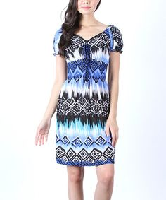 Look what I found on #zulily! Blue & Black Geometric Shirred Dress by Collective Rack #zulilyfinds