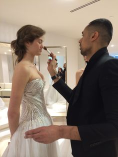 Hassan doing final make up touch ups at the Kleinfeld by Hudson's Bay open house in Toronto 2014