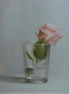 Neil Carroll Original Oil Painting Still Life Rose in Glass